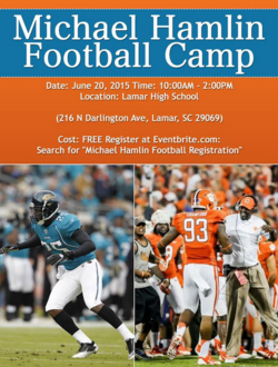 Michael Hamlin to host Free Football Camp