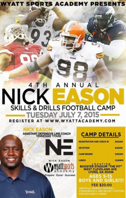 Sign up for Nick Eason Skills and Drills Football Camp