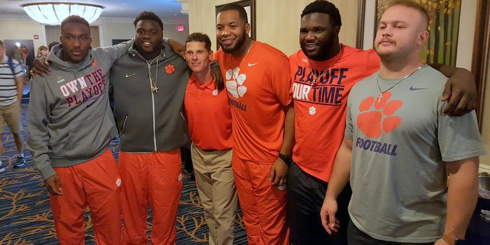Venables poses with this defense after interviews Monday morning