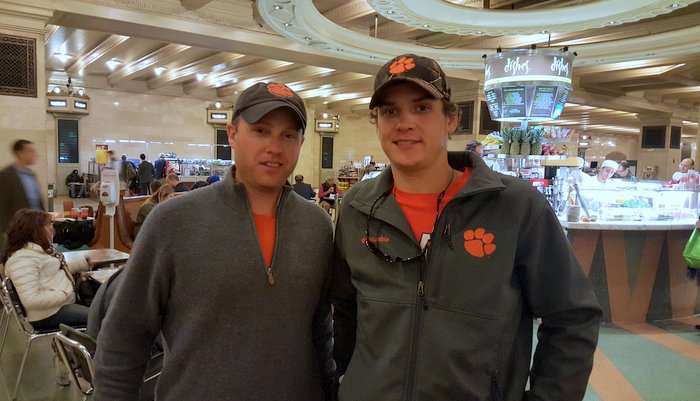 Brad White (L) and Thomas McEntire in the food area of Grand Central Station
