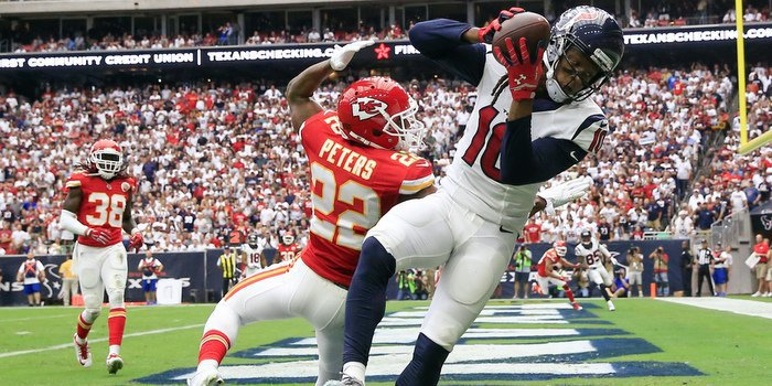 Nuk Hopkins catches a TD pass Sunday against the Chiefs (Photo by Kevin Jairaj)