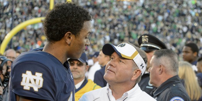 Deshone Kizer has shown remarkable composure for Brian Kelly's team (Photo by Matt Cashore)