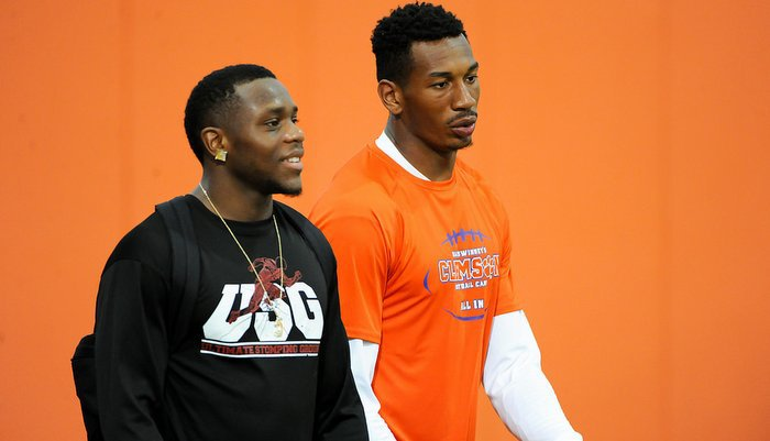 Charone Peake (right) and Artavis Scott last month