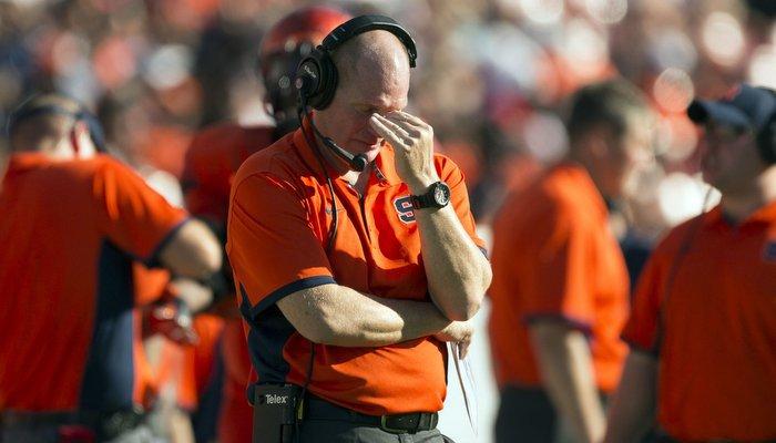 Syracuse head coach Scott Shafer has had his share of headaches this season (Photo by Logan Bowles, USAT)
