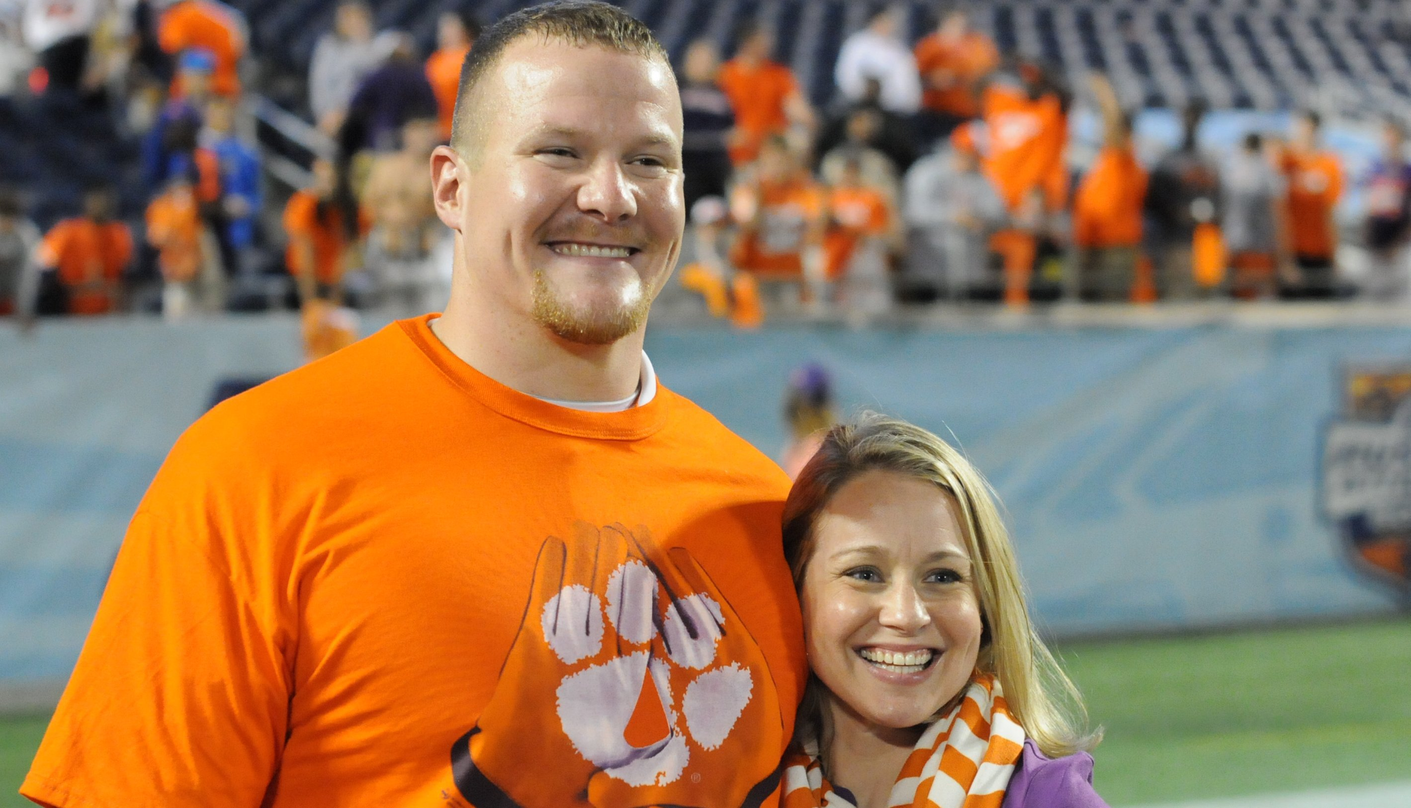 Smotherman and his wife Lindsey following the Russell Athletic Bowl
