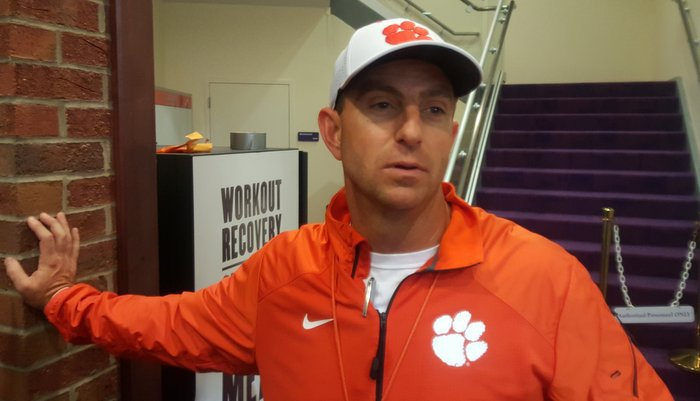 Swinney talks to the media after Wednesday's practice