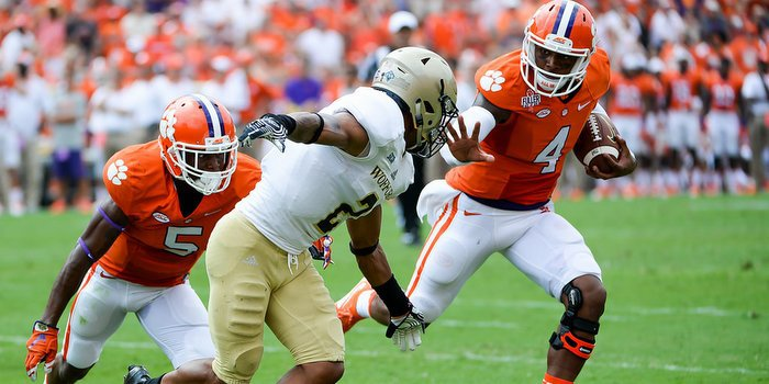 Watson throws a stiff arm during Clemson's win over Wofford