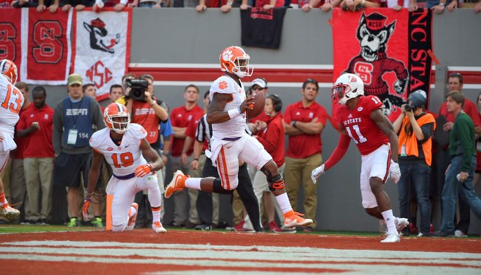 Watson scores a rushing touchdown Saturday at NC State