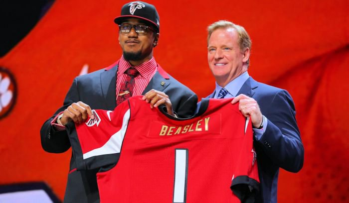 Beasley and NFL Commissioner Roger Goodell shortly after the pic (Photo by Dennis Wierzbicki, USA Today)