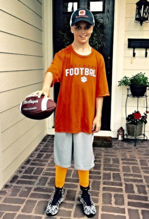 Reese already has his new cleats and Clemson gear ready to go
