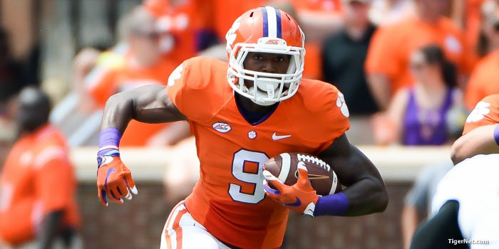 Wayne Gallman led the Tigers against Wofford with 14 rushes for 92 yards and 2 TDs.