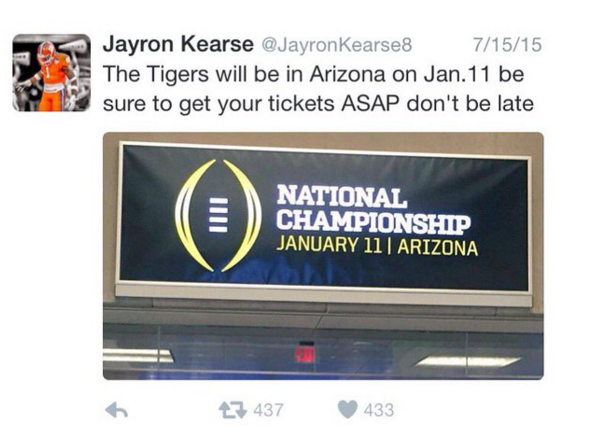 Kearse predicted Clemson in title game back in July
