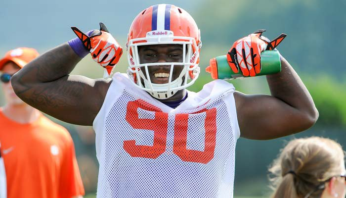 Lawson sacked Brent Venables from behind in Monday's practice.