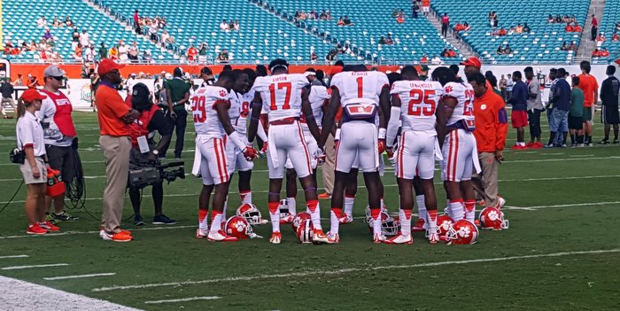 Clemson's secondary gathers prior to the game against Miami