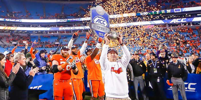 Dabo Swinney celebrates Clemson's ACC title Saturday night in Charlotte
