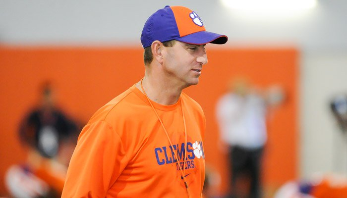 Swinney was back at practice for the first time since the death of his father.