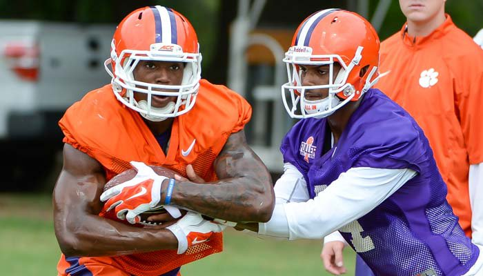 Deshuan Watson and Wayne Gallman at practice on Monday.