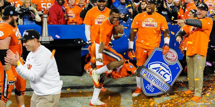 Watson does his Heisman pose after the ACC Championship