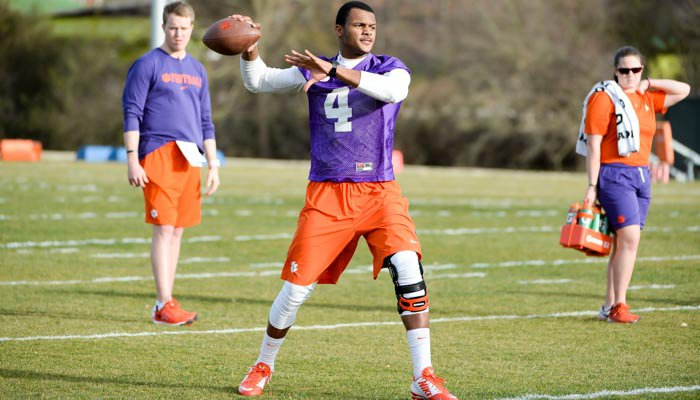 Deshaun Watson took part in a few passing drills.