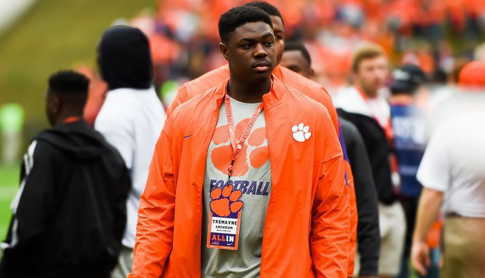 Anchrum walks the sidelines prior to Clemson's victory over FSU
