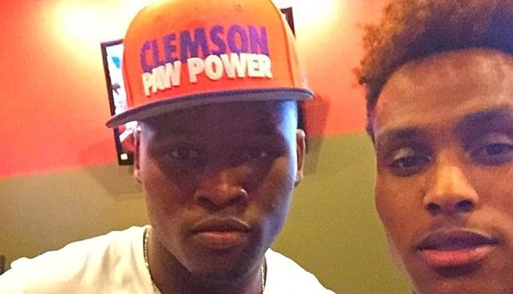 Felder (R) and Smith (L) celebrate after Smith announced his commitment to Clemson