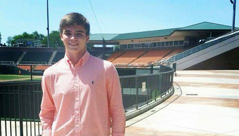 Griffith poses in front of Clemson's new facilities Thursday