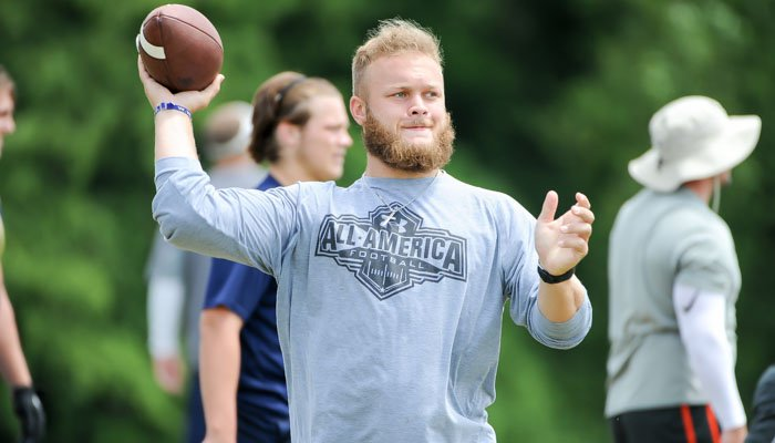 Ben Boulware shows off the beard - and his throwing motion - during the camp