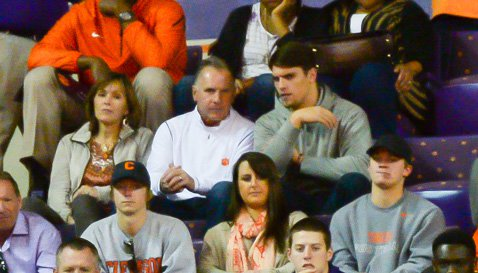 Tanner Muse and Jack Leggett talk during Clemson's basketball game on Saturday.