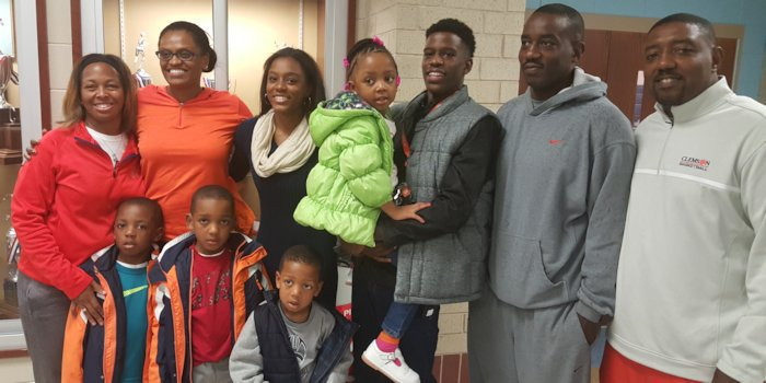 Oliver and his family shortly after his commitment to Clemson.