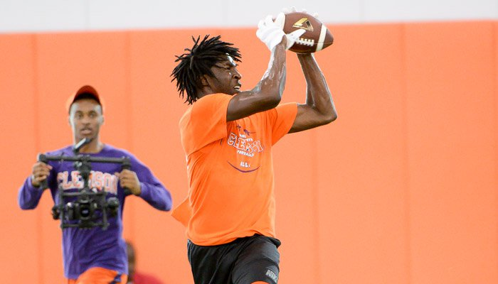 Robinson hauls in a pass during camp last week
