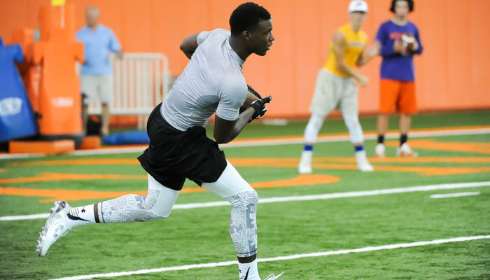 OrTre Smith works out Monday afternoon