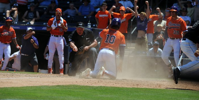 The umpire says Bryant got the plate as Clemson advances to ACC Championship