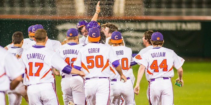 Clemson players celebrate with Jolly after the walk-off
