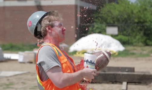 WATCH: Huegel hits FG's into construction zone