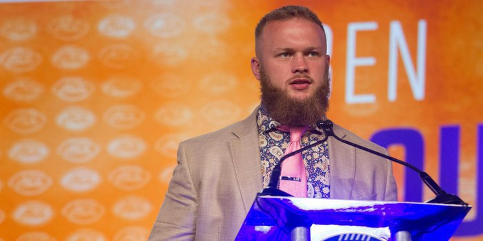 Boulware meets with the media last week in Charlotte