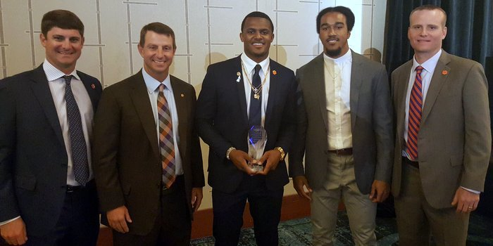 Clemson's coaches and Vic Beasley were on hand to support Watson