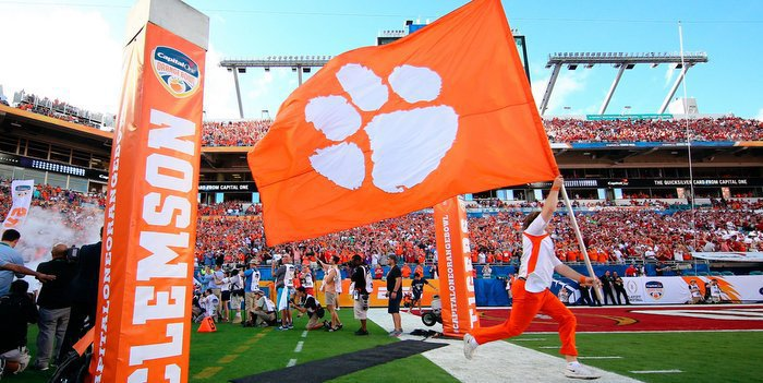 Flying a Clemson flag might earn you a visit from head coach Dabo Swinney (Photo by Steve Mitchell, USA Today)
