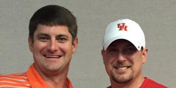 Scott poses with Houston's Tom Herman