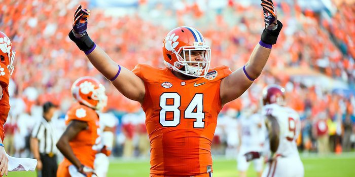 Smith celebrates after a Clemson touchdown in the Orange Bowl