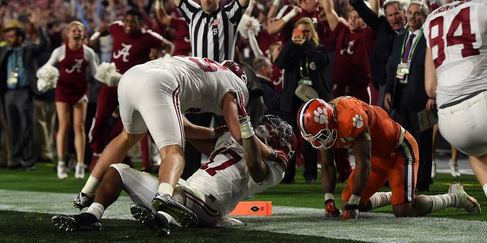 Alabama returns a kickoff for a touchdown in the College Football Playoff National Championship