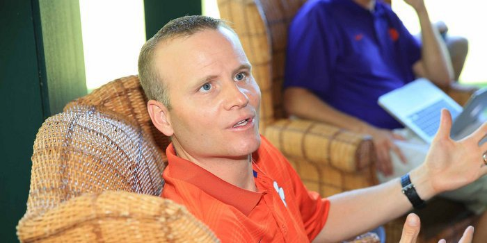 Streeter talks to the media at the golf outing last week (Photo by Mark Crammer)