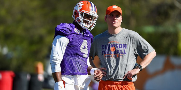 Streeter (right) talks to Watson at a recent practice