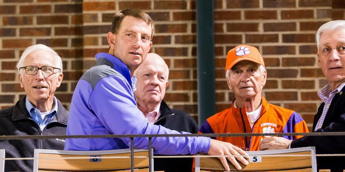 Swinney at Clemson's baseball game last week, shortly after the contract announcement (Photo by David Grooms)