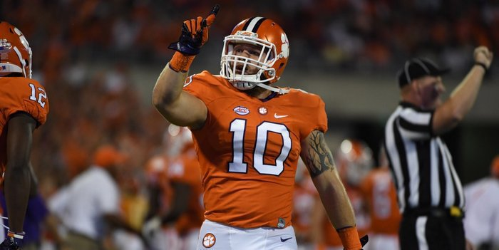 Ben Boulware reacts after stopping Louisville late