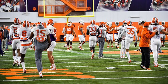The Tigers work out in the indoor practice facility