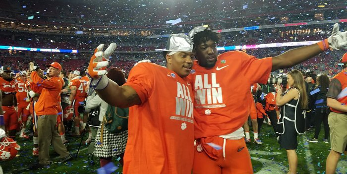 Deon Cain and C.J. Fuller celebrate the win