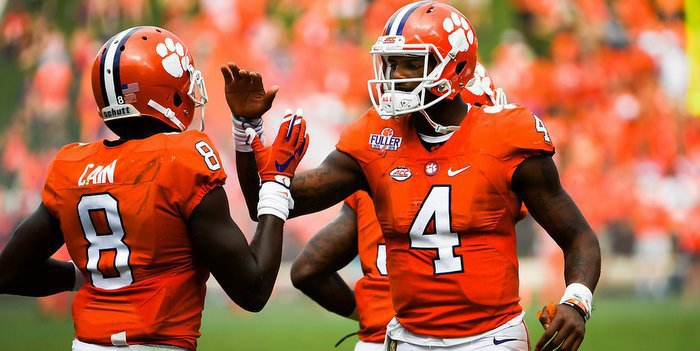 Deon Cain and Deshaun Watson during Saturday's win over Troy