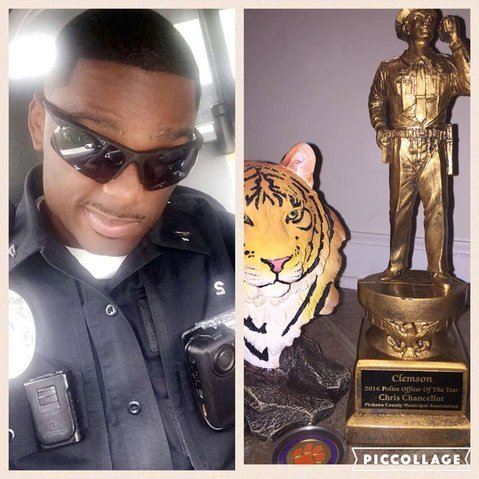 Chancellor was named 2016 Clemson police officer of the year