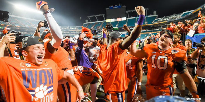 Tigers dance after Orange Bowl win.