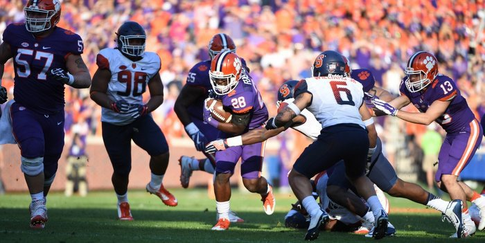 Clemson's rushing attack is getting better by the week